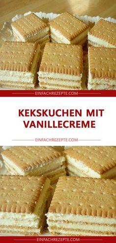 Biscuit cake with vanilla cream 😍 😍 😍 - Backen - cake recipes Easy Vanilla Cake Recipe, Easy Cake Recipes, Cookie Recipes, Snack Recipes, Dessert Recipes, Strawberry Cake Recipes, Cake Chocolat, Biscuit Cake, Oreo Dessert