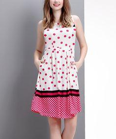 Love this Pink Polka Dot Sleeveless Fit & Flare Dress on #zulily! #zulilyfinds
