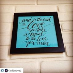Amor sempre como um mantra ✌🏻️ #thebeatles #handlettering #handwriting #frame #love #art #decor #instadaily  #Repost @julianavaz with @repostapp. ・・・ Deixando a parede linda com a @vanrez 😍