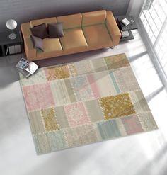 Teppich Safir Webteppich Patchwork Optik in 4 Größen beige rose hellbraun von Sehrazat in 112x170cm für 92,34 EUR