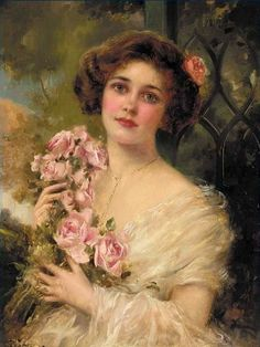 Vernon, Emile (b,1872)- Woman Standing w Flowers, In, I