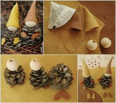 Little Christmas Room Decor Miniature Crafts Made from Pinecone Pinecone Ornaments, Christmas Ornament Crafts, Holiday Crafts, Christmas Decorations, Gnome Ornaments, Christmas Swags, Christmas Home, Handmade Christmas, Crafts To Make