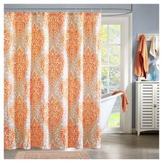 orange and gray shower curtain. Chelsea Paisley Print Microfiber Shower Curtain  Orange and Tan grey shower curtain with chevron towel I have this
