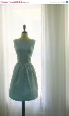 1960s Pale Blue Brocade Cocktail Dress $56.00