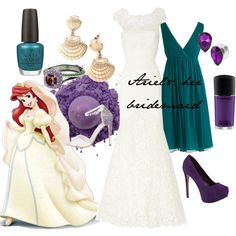 A fashion look from July 2013 featuring a line bridesmaid dresses, heel pump and ankle tie sandals. Browse and shop related looks. Disney Princess Outfits, Cute Disney Outfits, Disney Themed Outfits, Movie Inspired Outfits, Disney Inspired Wedding, Disney Inspired Fashion, Disney Weddings, Disney Fashion, Girls Fashion Clothes