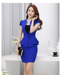 Cheap womens business skirt suits, Buy Quality womens skirt suit directly from China business skirt suits Suppliers: Summer slim women skirt suits Business formal office ladies elegant short sleeve blazer with skirt plus size work wear Beautiful Suit, Beautiful Asian Women, Skirt Suit, Dress Skirt, Suit Fashion, Fashion Dresses, Modelos Fashion, Business Formal, Business Suits