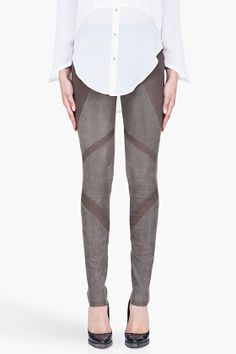Helmut Lang Grey Suede Armor Leggings for Women | SSENSE