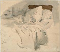 Eugène Delacroix - An unmade bed, watercolour over graphite on laid paper Illustrations, Illustration Art, Eugène Delacroix, Romanticism Artists, Unmade Bed, Romanesque Art, A Level Art, High Art, Art Graphique