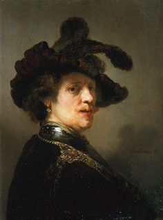"""Rembrandt van Rijn, """"Tronie"""" of a Man with a Feathered Beret, ca. 1635–1640. Oil on panel, 24 5/8 x 18 1/2 in. (62.5 x 47 cm). The Hague, Royal Picture Gallery Mauritshuis, Acquired by Prince William V, 1768 (inv. no. 149)"""