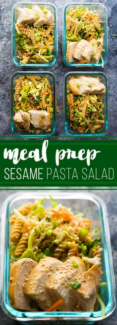 Spend 30 minutes doing some meal prep and you'll have FOUR Sesame Chicken Pasta Salads ready to go for your work lunch this week! #mealprep #salad #pastasalad #chickenbreast #healthy #lunch