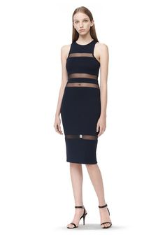 T by ALEXANDER WANG MESH STRIPE SLEEVELESS DRESS