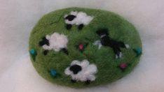 Felted Soap Sheep & Border Collie Black White Spring Decor