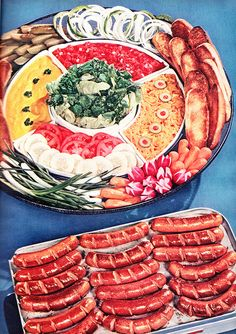 Hot Dog Condiment Bar from Family Circle, March 1952 - Small Bites and Snacks - Retro Recipes, Vintage Recipes, Vintage Food, Retro Food, 70s Food, Retro Vintage, Grilling Recipes, Cooking Recipes, Cooking Tips