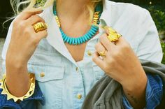 turquoise and denim and gold
