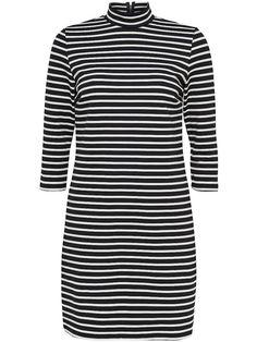 ONLY Kleid mit Rollkragen., 3/4-lange Ärmel., Dekorativer Reißverschluss am Kragen., Auf Schadstoffe geprüfte Textilien nach dem Öko-Tex-Standard 100., Länge: 90 cm in GrößeM., Das Model ist 176 cm groß und trägt Größe S.,   85% Polyester, 10% Viskose, 5% Elasthan...