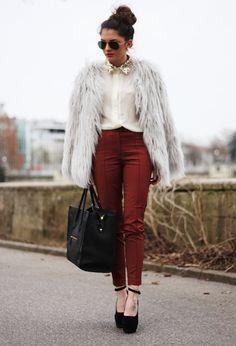 burgundy #outfit  , lookbookstore en Chaquetas, romwe en Camisas / Blusas, H&M en Pantalones, VJ-STYLE.COM en Bolsos, Nelly.com en Tacones / Plataformas