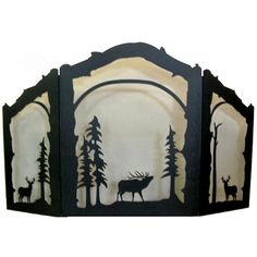 Elk and Deer Arched 3 Panel Fireplace Screen #LearnShopEnjoy