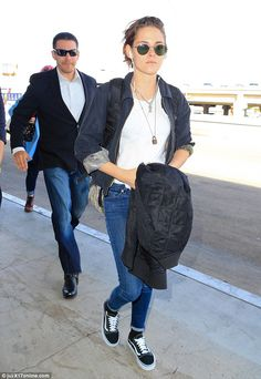 Twilight star takes to the skies: Kristen Stewart kept it laid back in Los Angeles as the actress was spotted arriving at the LAX airport on Saturday