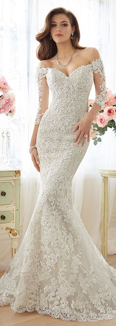Elegant Tulle Off-the-Shoulder Neckline Mermaid Wedding Dresses with Beaded Lace Appliques