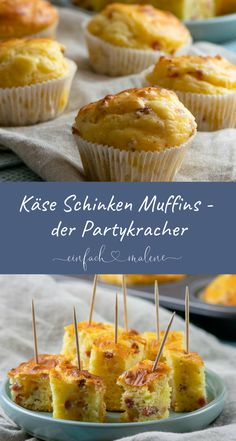 Everyone loves these cheese ham muffins - as a snack or on the buffet - Everyon. - Everyone loves these cheese ham muffins – as a snack or on the buffet – Everyone loves these c - Cheese Appetizers, Finger Food Appetizers, Appetizer Recipes, Snack Recipes, Seafood Appetizers, Simple Appetizers, Party Appetizers, Pizza Recipes, Seafood Recipes