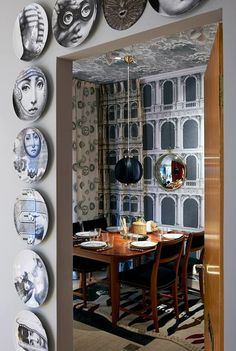 .Fornasetti wallpaper by Cole and Son, with Fornasetti everything