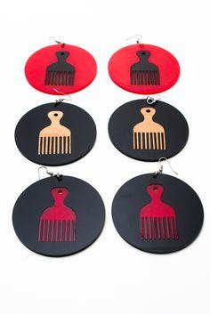 Afro Pick Earrings by Rachel Stewart