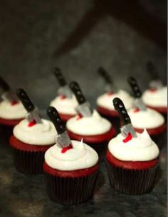 Stabbed Cupcakes Trick or treat anyone?