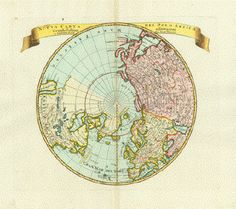 Map of the North Pole and surrounding topography ca 1740