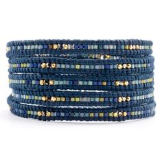 Chan Luu - Blue Mix Seed Bead Wrap Bracelet on Natural Dark Blue Leather, $190.00 (http://www.chanluu.com/wrap-bracelets/blue-mix-seed-bead-wrap-bracelet-on-natural-dark-blue-leather/)