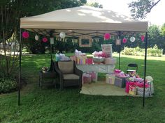 Outdoor baby shower. Mayve a nice new rocker under there for mommy?