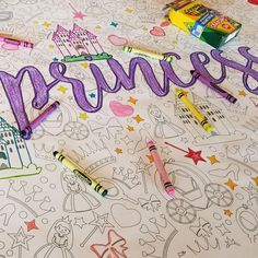 Little Princess Table Top Coloring Banner Coloring Sheets, Coloring Books, Coloring Pages, Holiday Tables, Holiday Parties, Elsa Birthday, Kid Table, School Parties, Cool Items