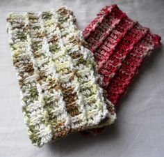 set of two dishcloths, Candy Apple and Shrub Steppe