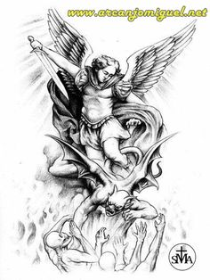 Jesse Santos - Book of angels Tattoo Design Drawings, Tattoo Sleeve Designs, Tattoo Sketches, Tattoo Designs Men, Sleeve Tattoos, St. Michael Tattoo, Archangel Michael Tattoo, Angel Devil Tattoo, Paradise Tattoo