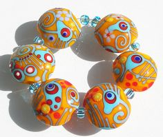 Katie Mankau Lampwork Glass Bead Lentil Set SRA by katiemankau, $55.00