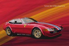 Ferrari 365 GTB/4 Daytona Most Popular Cars, Automobile, Car Illustration, Car Posters, Car Sketch, Car Drawings, Automotive Art, Car Painting, Retro Cars