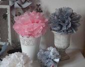 12 pompons papier soie rose poudré rose pale gris blanc argenté - décoration mariage - décoration chambre enfant - accessoires photobooth : Accessoires de maison par la-fabrique-a-reves