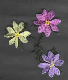 needle lace 'oya' collar flower patterns