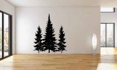 Pine Trees Vinyl Wall Decal Sticker Graphic. Many sizes to choose from. Made from high quality adhesive vinyl that will last indefinitely indoors and has an outdoor rating of up to 10 years. Some deca