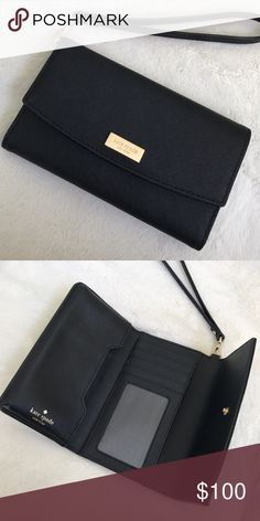 Kate Spade iPhone 6 / 6s / 7 Wristlet Authentic black Kate Spade wristlets for iPhone 6, iPhone 6s, and iPhone 7! Perfect for any day with any outfit, and nearly new with no damages. Selling because although it's so cute, I already have a wristlet I love very much.  fast shipper (same or next day) kate spade Accessories