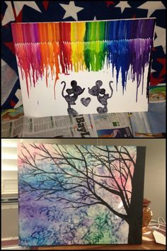 DIY Melted Crayon Wall Decor – Craft projects for every fan! Toddler Art Projects, Craft Projects, Craft Ideas, Project Ideas, How To Make Canvas, Wall Decor Crafts, Dark Art Photography, Flower Art Drawing, Art Deco Bathroom
