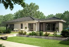 Concept-M Aktionshaus 100 House Roof Design, Simple House Design, Facade House, Bungalows, One Storey House, Modern Bungalow House, Beautiful House Plans, Model House Plan, House Layout Plans