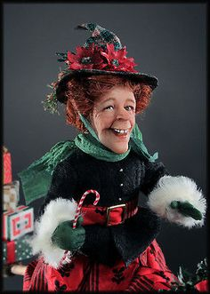 OOAK-Miniature-Christmas-Witch-Doll-by-Creager-Studios-NIADA-IGMA 1/!12th. Sca le