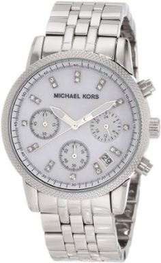Michael Kors Watches Silver Chronograph with Stones.  List Price: $195.00  Savings: $35.81 (18%)