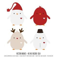FREE Vector Birdies – Ho Ho – cute layered birdies all ready for Christmas!