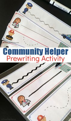 Community helper themed prewriting activity for toddlers and preschoolers. They will be having so much fun they'll never know they're strengthening skills! Preschool Writing, Writing Activities, Preschool Activities, Space Activities, Community Helpers Activities, Prewriting Skills, Community Workers, Community Jobs, Pre Writing