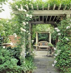 Perfect Pergola-Create a shaded area and maintain your backyard budget with a pergola. Rather than four walls and a solid ceiling, a pergola is open on two sides and is topped by girders and cross beams that create an open lattice, saving material costs when compared with a room. Create even more shade by growing vines up and over the structure
