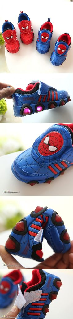 Kids sport shoes 2016 Spring new spider-man lighted boys shoes Flash Fashion…