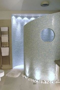 A walk-in shower