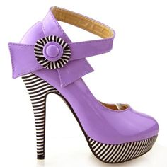 Show Story Purple Flower Ankle Strap Stripe Stiletto High Heel Platform Pumps,LF30404PP40,9US,Purple -  Eye catching amazing Patent material. Further enhanced by its feature of a white and black flower and a delightful ankle strap. Platform high heel design with black and white srtipe covered. Product Features  These trendy pumps feature a two tone color look. Fashion sexy high platform ... #Shoes