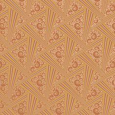 Zenith Art Deco Style Wallpaper in Tangerine | Bradbury & Bradbury